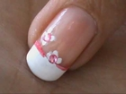 Cute Pink Flower French Tip easy nail art for short nails- nail art tutorial beginners