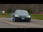 Tesla Model S drifting at the Consumer Reports test track