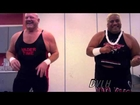 Vader and Rikishi dancing backstage at a Pro Wrestling Syndicate event